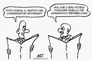 Raffaele Fitto, forza italia, conservatori e riformisti, satira, vignetta