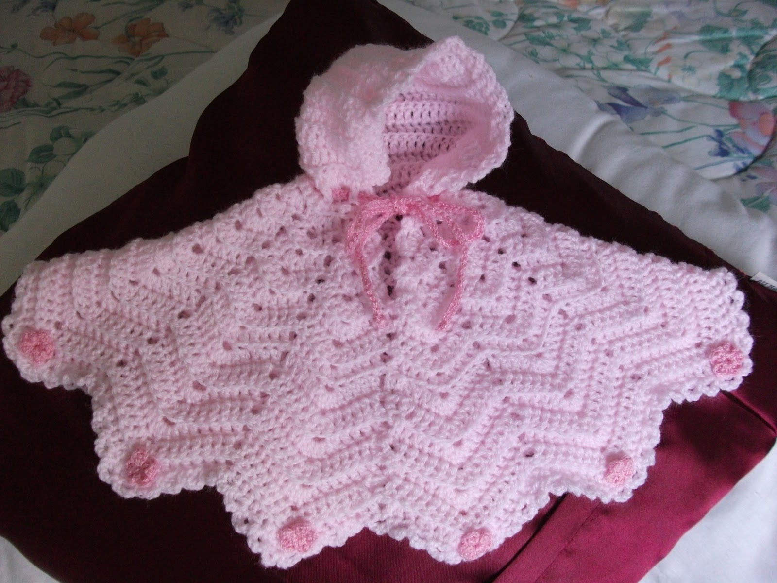 Free Crochet Patterns For Baby Pram Blankets : .Lindas Crafty Corner: Preemie Ripple Poncho.