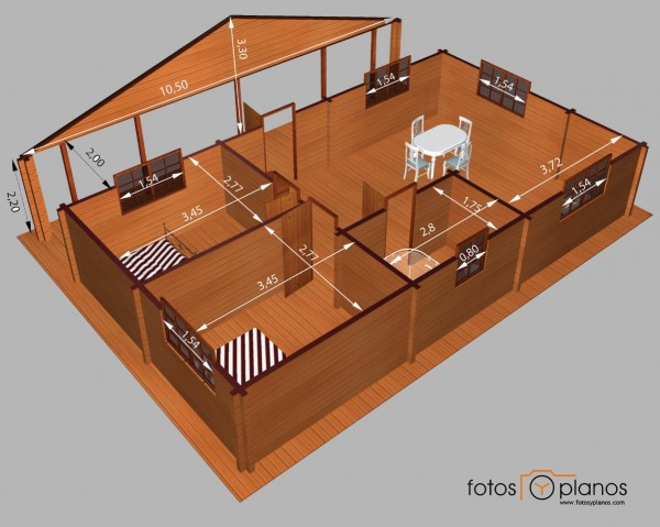 Casa de madera planos para casas y departamentos gratis for Planos de casas de madera de una planta