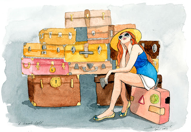 Watercolor painting of suitcases and girl travel