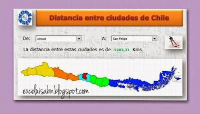 Distancia entre ciudades de Chile