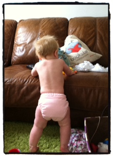 baby standing, cloth nappy
