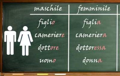 Итальянские существительные делятся на 2 рода