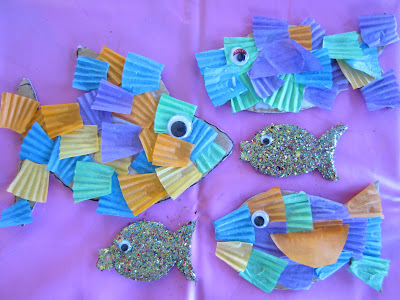 activities for kids, making fish, collage, fine motor skills