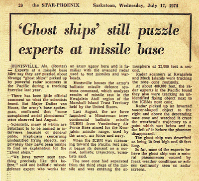 'Ghost Ships' Still Puzzle Experts at Missile Base - The Star Phoenix 7-17-1974