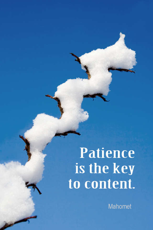 visual quote - image quotation for PATIENCE - Patience is the key to content. - Mahomet