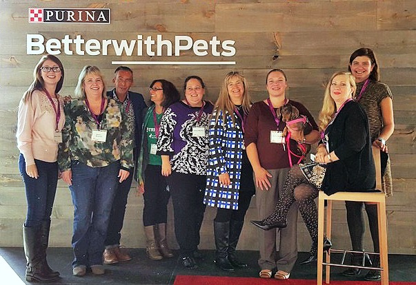group of bloggers, including Elizabeth Keene at Chronicles of Cardigan, on stage at Purina Better With Pets Summit 2015