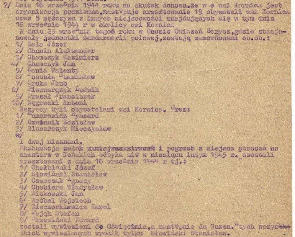 Dokument podpisany przez Władysława Piwowarczyka (por. Zbigniew) zatytułowany: Ofiary zbrodni hitlerowskich we wsi Kornica. Dokument w zbiorach KW.