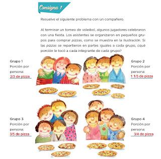Respuestas Apoyo Primaria Desafíos matemáticos 4to grado Bloque I lección 7 Fiesta y pizzas