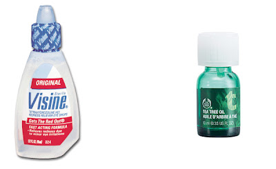 Visine, Visine Original Fast Acting Formula, Visine Eye Drops, eye drops, The Body Shop, The Body Shop Tea Tree Oil, tea tree oil, skin, skincare, skin care, pimple, pimples, zit, zits, pimple remedy