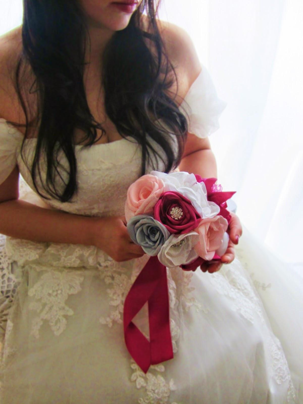 bouquet de noiva rosas em cetim