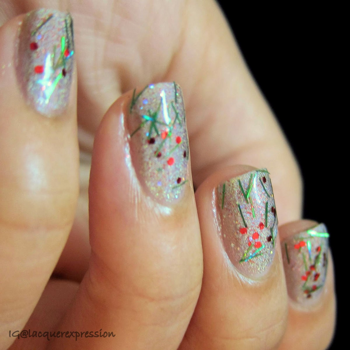 swatch of tinsel nail polish by orly