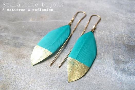 Boucles plume turquoise Stalactite bijoux Squaw