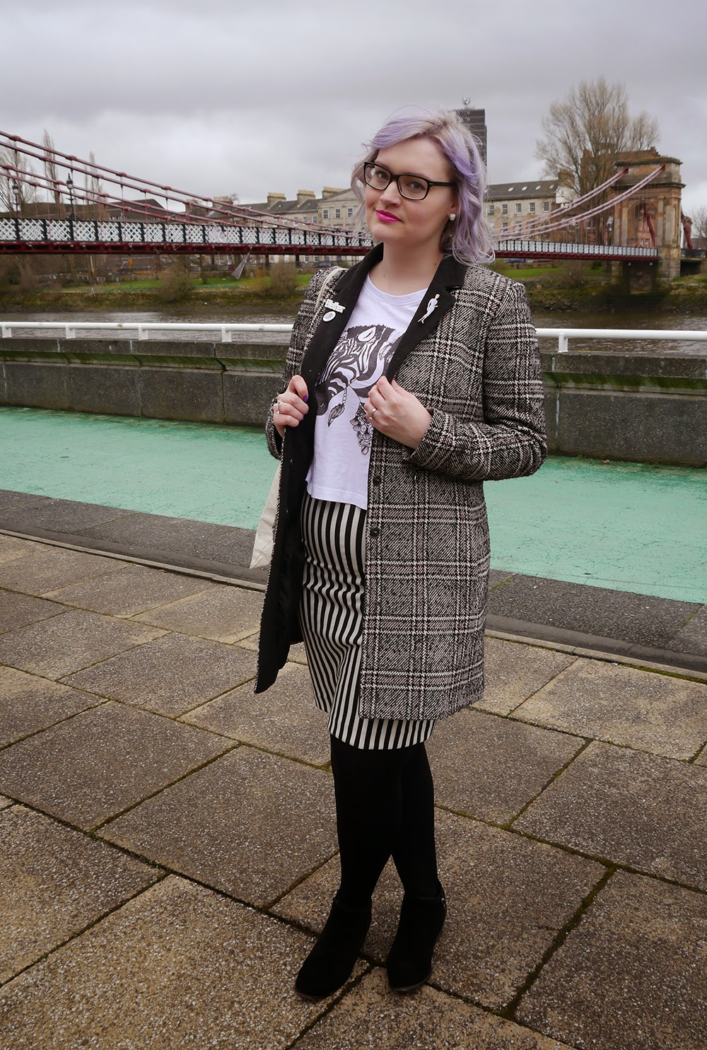 Glasgow, merchant city, the Clyde, plaid, Scottish blogger, style blog, blether, violet hair, purple hair, how to, stripes, SS15, OOTD, blogger