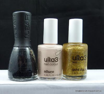 Nubar Black Polka Dots, Ulta3 Allure and Ulta3 Gold Digger