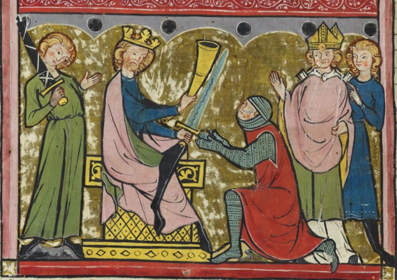 Charlemagne remettant à Roland l'épée Durendal et l'olifant