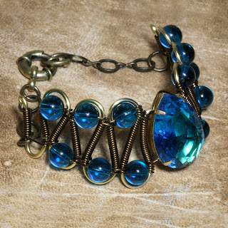 Steampunk Neo Victorian Jewelry - Bracelet - Dark Aqua Glass faceted jewel