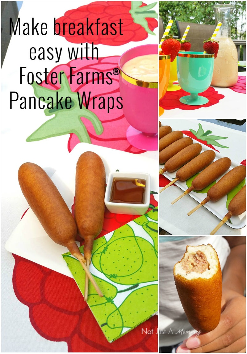 Make breakfast easy with Foster Farms Pancake Wraps and fruit smoothies