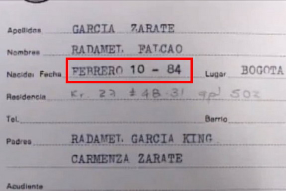 A school registration document shows Radamel Falcao is two years older than what he actually is