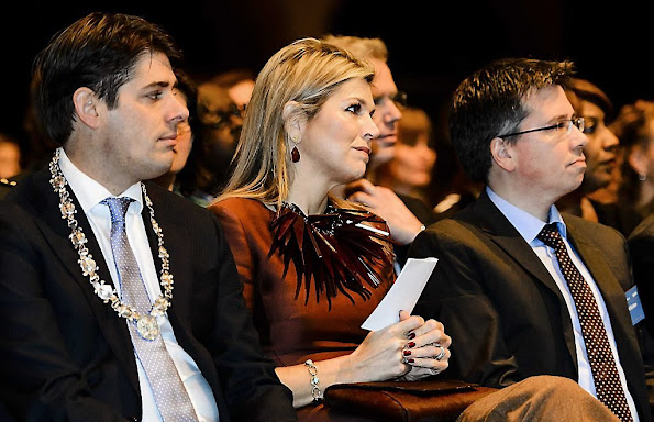 Queen Maxima of The Netherlands attends the opening of the Conference Doing business in fragile states at Beurs van Berlage Conference Centre in Amsterdam