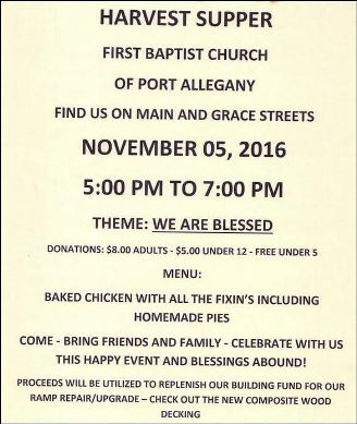 11-5 Harvest Supper 1st Baptist Church