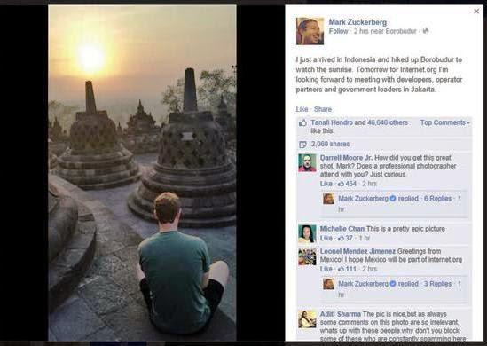 Datang ke Indonesia, Mark Zuckerberg Kunjungi Borobudur