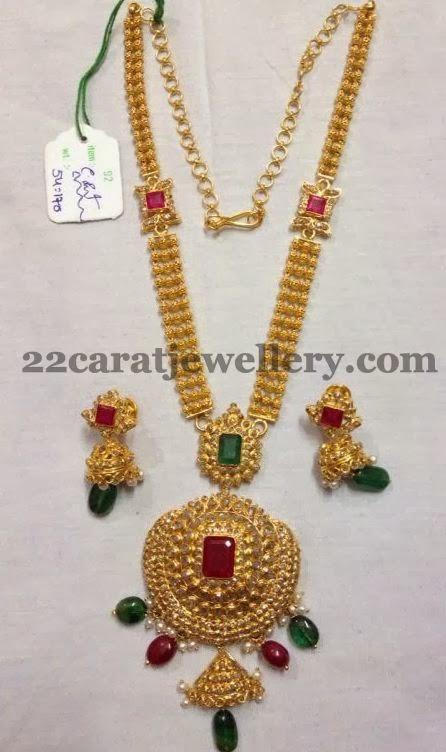 Three steps long set 54 grams jewellery designs