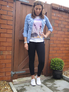 Zara, H & M, Converse, Leggins and top, denim shirt,