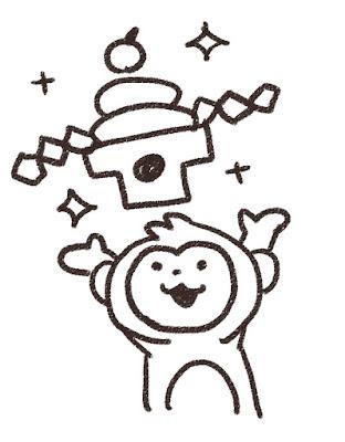 鏡餅を持ち上げる猿のイラスト(申年)モノクロ線画
