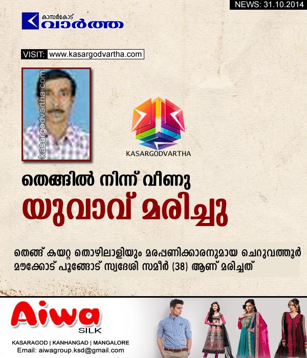 Kasaragod, Cheruvathur, Obituary, Kerala, Hospital, Injured, Sameer,  Man dies after falling from coconut tree