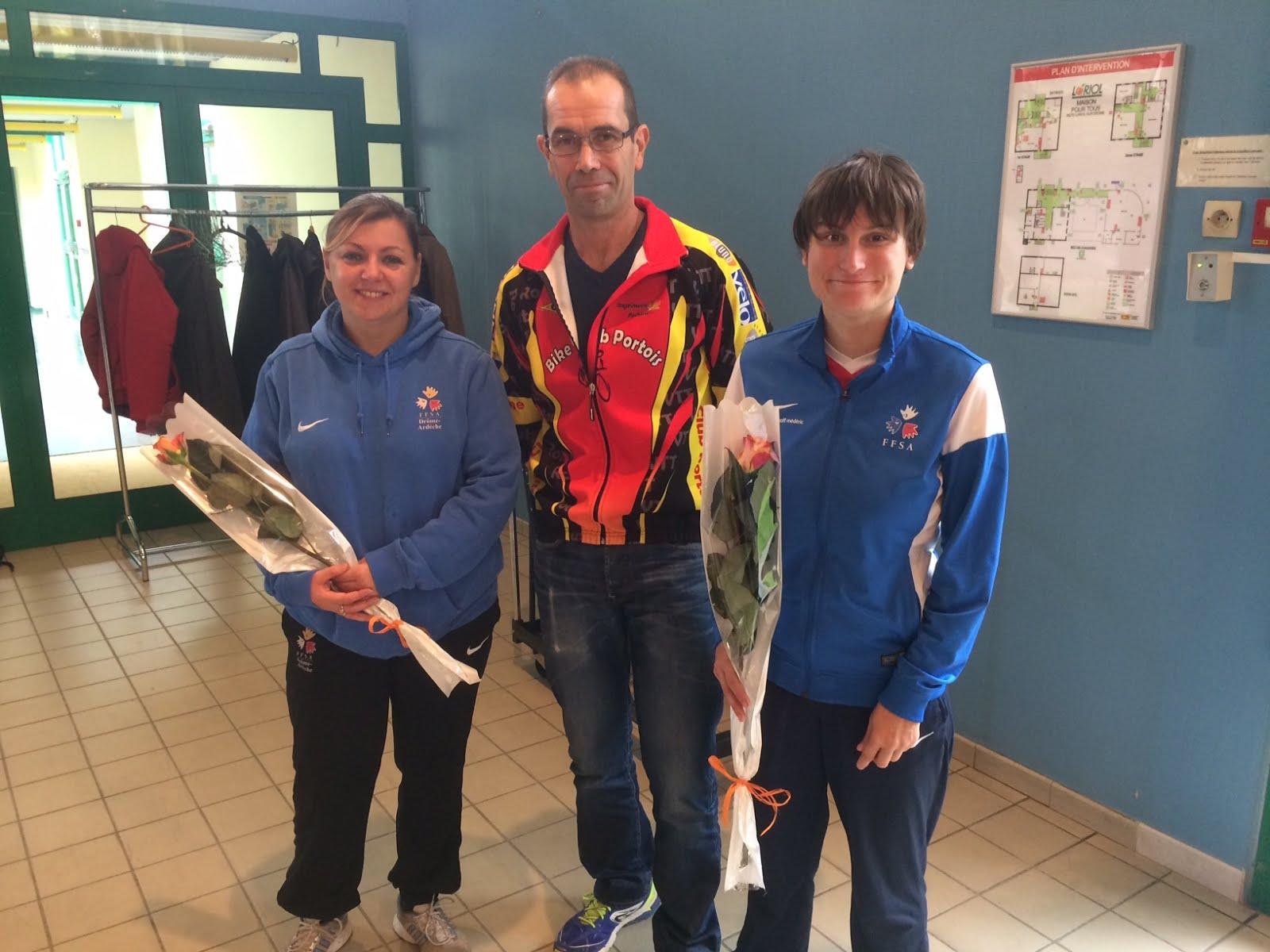 Rencontre sport et Handicap à Loriol, Célia du CDSA et Aurélie.