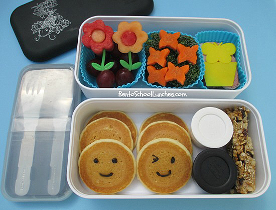 Smiley pancakes, bento school lunches
