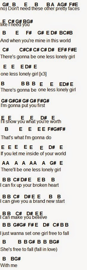 Flute Sheet Music One Less Lonely Girl