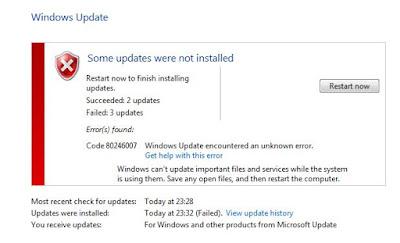 Windows Update fails to install