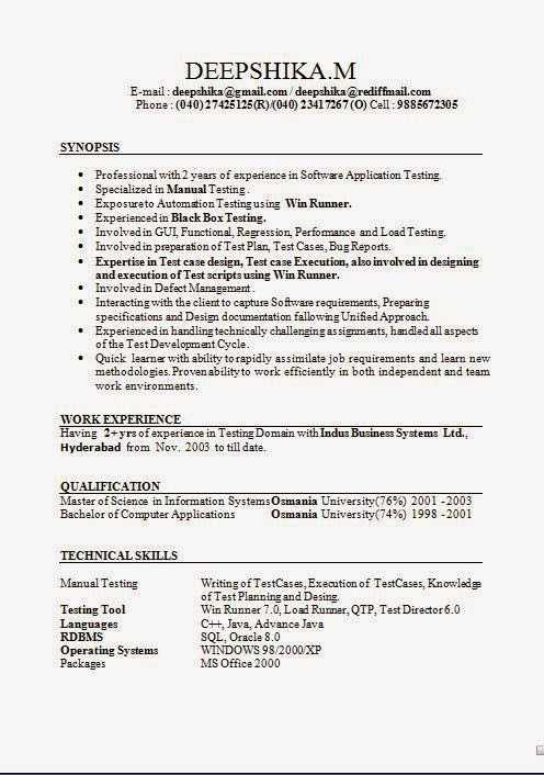 sample resume october 2015