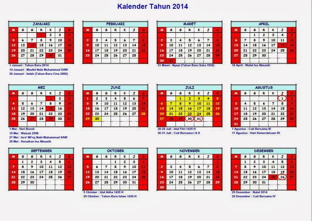Kejadian Unik : Fakta Unik Kalender Tahun 2014