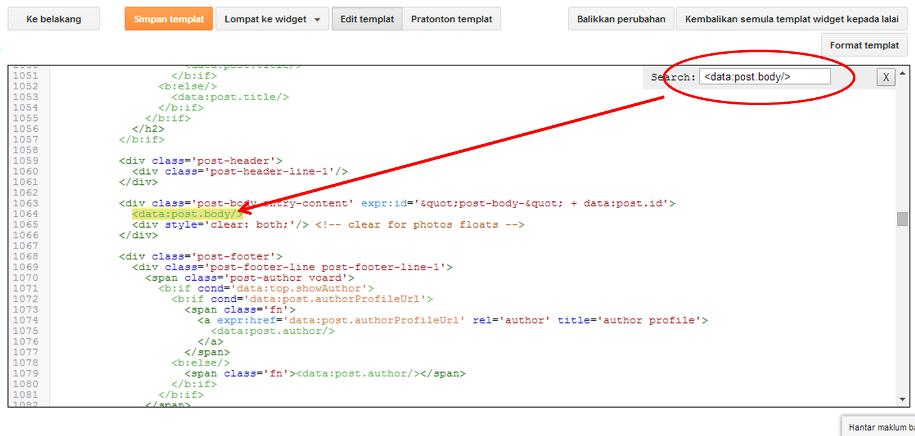 Cara Mencari Kod Template di Menu Edit HTML Blogspot