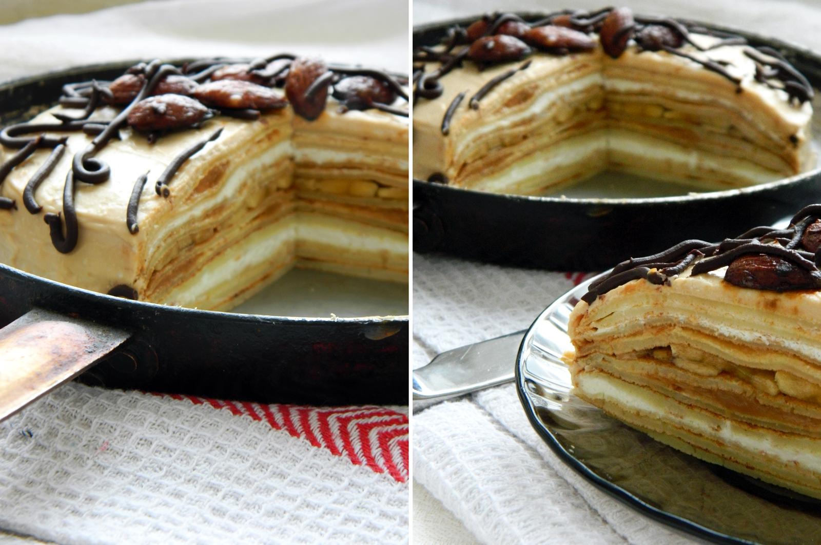 Блинный торт рецепт пошагово со сгущенкой и маслом