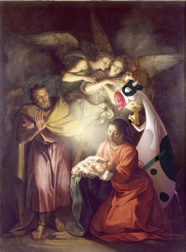 détournement d'un tableau biblique représentant la vache qui meuh mangeant une galette des rois