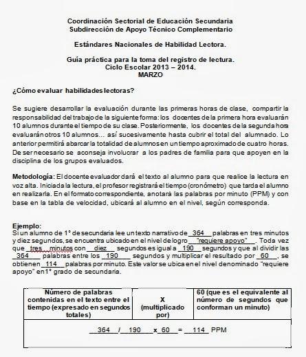 GUÍA PARA LA OBTENCIÓN DE ESTÁNDARES DE LECTURA 2013-2014