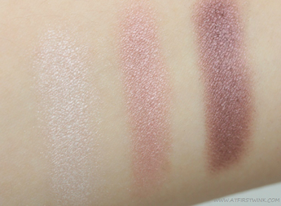 three shades of the Bourjois Smokey eyes - 05 Rose Vintage swatched on arm