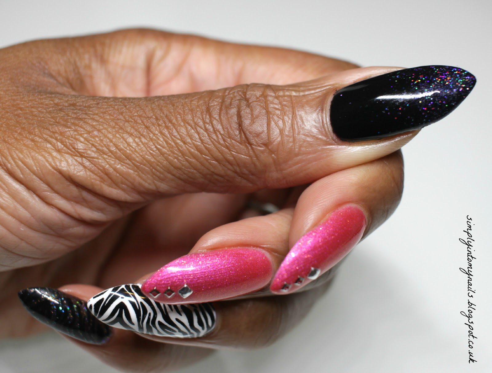 Pink zebra manicure net cancer day simply into my nails myself pink middle and index nails gel ii midnight black thumb magpie beauty eartha magpie glitter thumb mundo de unas black stamping polish solutioingenieria Choice Image