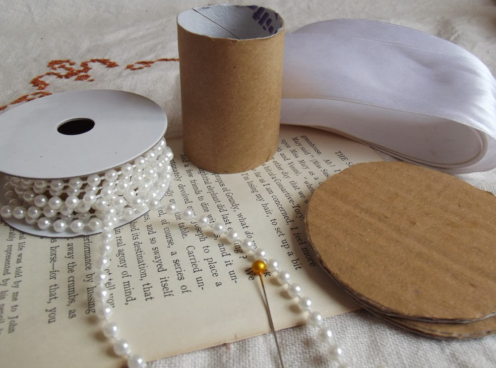 Toilet roll craft book page craft ribbon trim beads pearls