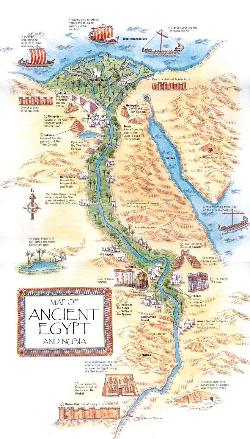 Imans HomeSchool Ancient Egypt Illustrated Map - Map of egypt mountains