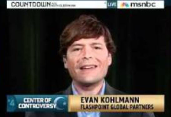 "Van Kohlmann doing his ""I'm an expert on Islamic terrorism"" act for the naive hosts of an MSNBC show. (Screen capture from YouTube video)"
