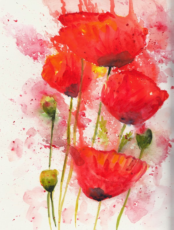 Poppies Watercolor PaintingPoppies Watercolor Painting