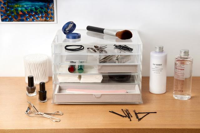 Muji+kim+kardashian+wide+drawers+acrylic+makeup+storage+beauty