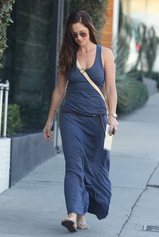 Minka Kelly Out and About on Melrose Avenue with an iPad in her hand