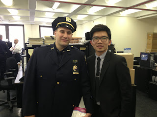 Leechaianan with one of NYPD's finest.