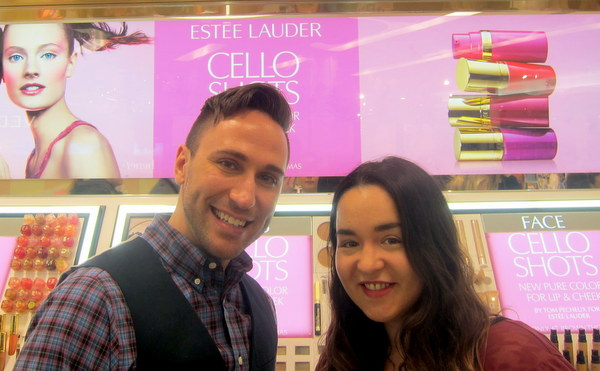 Derek Miller, Estee Lauder Global Makeup Artist, with Fluff and Fripperies